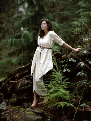 Organic cotton jacket/dress, slow fashion collection - Verena Erin. Photo: Ryan Kelly